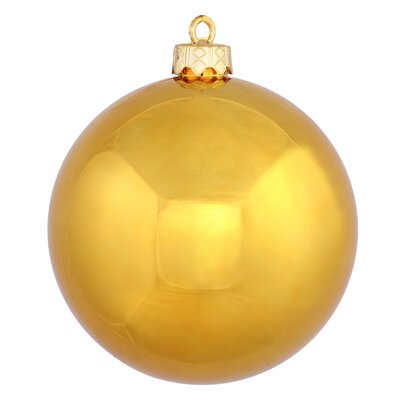 "UV Drilled Shiny Ball Ornament Size: 4.75"", Color: Antique Gold"