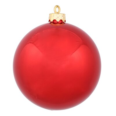 "UV Drilled Shiny Ball Ornament Size: 4.75"", Color: Red"