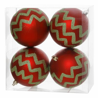 "Chevron Glitter Ball Ornament Size: 4"", Color: Red / Lime"