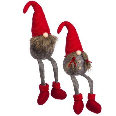 2 Piece Sitting Gnome Couple Plush Decor Set