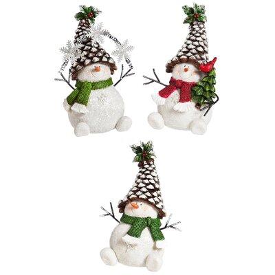 3 Piece Christmas Pinecone Snowman Decor Set