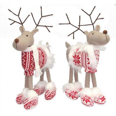 2 Piece Good Cheer Standing Reindeer Stuffed Holiday Accent Set