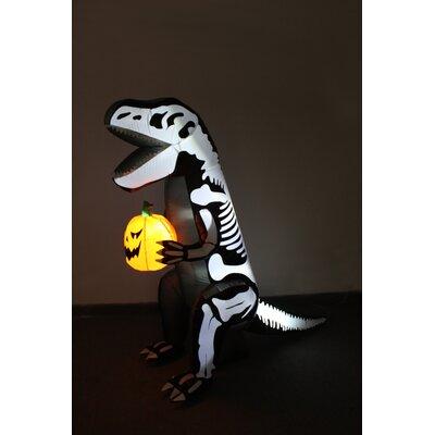 Skeleton Dinosaur with Pumpkin Yard Halloween Inflatable