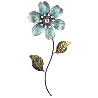 Andover Mills Blue Flower Metal Wall Art