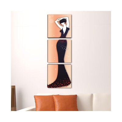 Andover Mills Woman 3 Piece Graphic Art Wrapped on Canvas Set