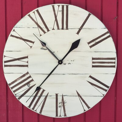 oversized 34 quot upminster vintage style painted wood wall clock wayfair