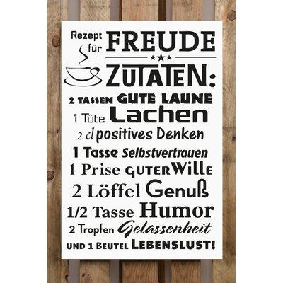 Factory4Home Schild-Set BD-Rezept für Freude, Typographische Kunst in Weiß