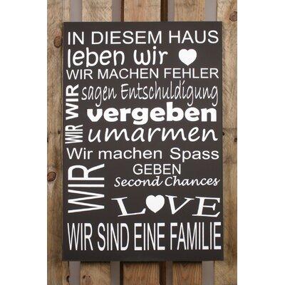 Factory4Home Schild-Set BD-In diesem Haus, Typographische Kunst in Schwarz