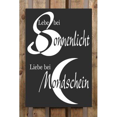 Factory4Home Schild-Set BD-Lebe bei Sonnenlicht, Typographische Kunst in Schwarz