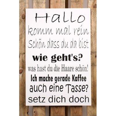 Factory4Home Schild-Set BD-Hallo komm mal rein, Typographische Kunst in Weiß