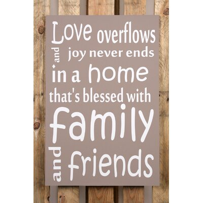 Factory4Home Schild-Set BD-Love overflows, Typographische Kunst in Taupe