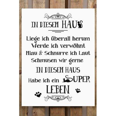 Factory4Home Schild-Set BD-Katze, Typographische Kunst in Weiß