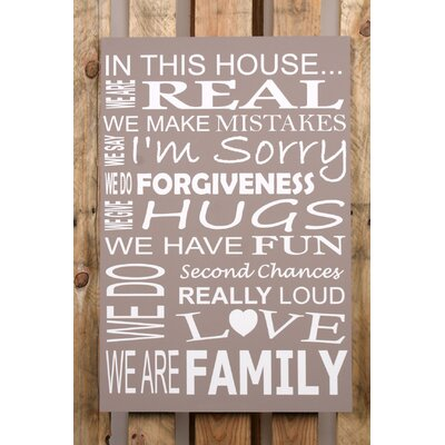 Factory4Home Schild-Set BD-In this house, Typographische Kunst in Taupe