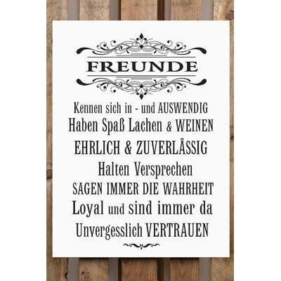 Factory4Home Schild-Set BD-Freunde, Typographische Kunst in Weiß