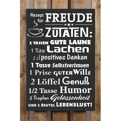 Factory4Home Schild-Set BD-Rezept für Freude, Typographische Kunst in Schwarz
