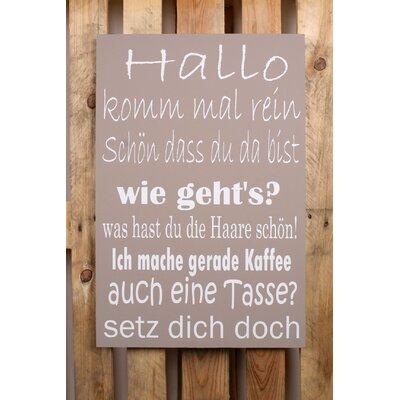 Factory4Home Schild-Set BD-Hallo komm mal rein, Typographische Kunst in Taupe