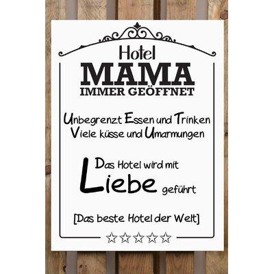 Factory4Home Schild-Set BD-Hotel Mama immer geöffnet, Typographische Kunst in Weiß