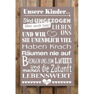 Factory4Home Schild-Set BD-Unsere Kinder, Typographische Kunst