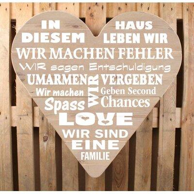 Factory4Home Schild HE-In diesem Haus, Typographische Kunst in Holz