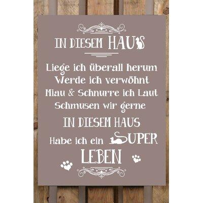 Factory4Home Schild-Set BD-Katze, Typographische Kunst in Taupe