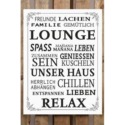 Factory4Home Schild-Set BD-Lounge Leben Geniessen, Typographische Kunst in Weiß