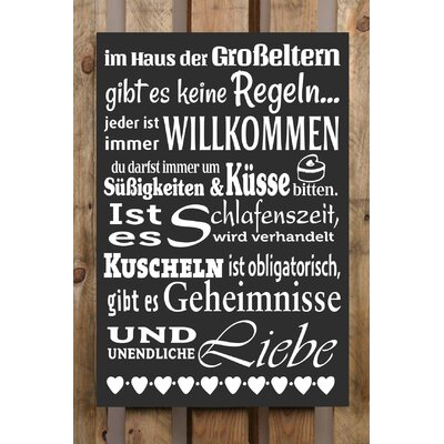 Factory4Home Schild-Set BD-Im Haus der Grosseltern, Typographische Kunst in Schwarz