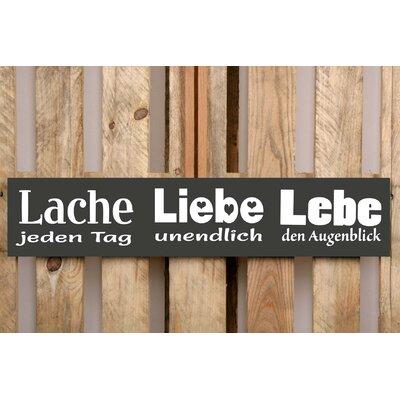 Factory4Home Schild-Set BD-Lache jeden Tag, Typographische Kunst in Schwarz