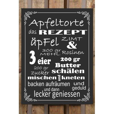 Factory4Home Schild-Set BD-Apfeltorte, Typographische Kunst in Schwarz