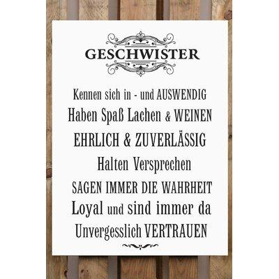 Factory4Home Schild-Set BD-Geschwister, Typographische Kunst in Weiß