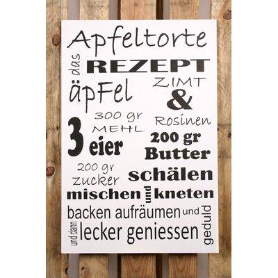 Factory4Home Schild-Set BD-Apfeltorte, Typographische Kunst in Weiß