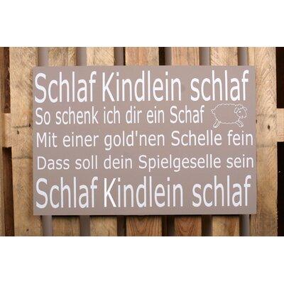 Factory4Home Schild-Set BD-Schlaf Kindlein Schlaf, Typographische Kunst