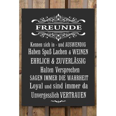 Factory4Home Schild-Set BD-Freunde, Typographische Kunst in Schwarz