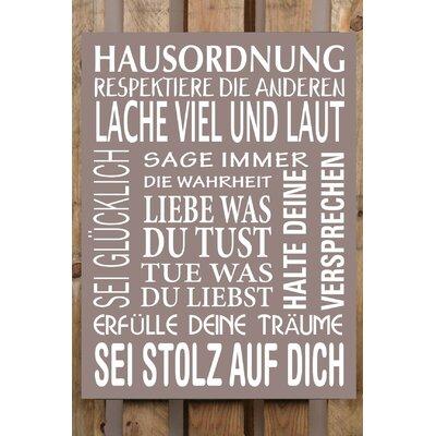 Factory4Home Schild-Set BD-Hausordnung, Typographische Kunst in Taupe