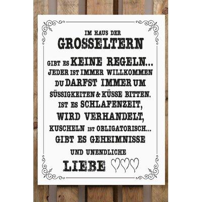 Factory4Home Schild-Set BD-Im Haus der Grosseltern, Typographische Kunst in Weiß