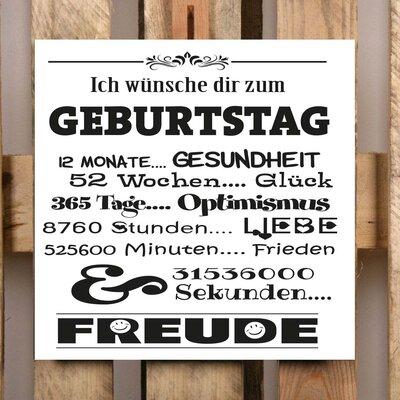 Factory4Home Schild-Set BD-Ich wünsche dir zum Geburtstag, Typographische Kunst in Weiß