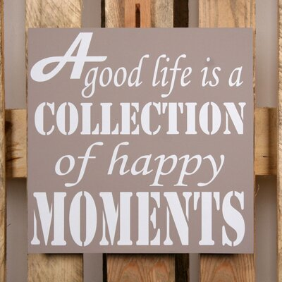 Factory4Home Schild-Set BD-A good life, Typographische Kunst in Taupe