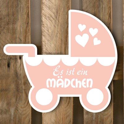 Factory4Home Schild BL-DE Kinderwagen, Typographische Kunst in Pink