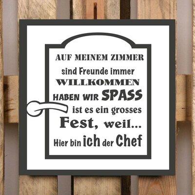 Factory4Home Schild-Set BD-Auf meiner Zimmer, Typographische Kunst in Schwarz