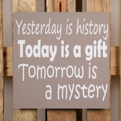 Factory4Home Schild-Set BD-Yesterday is history, Typographische Kunst in Taupe