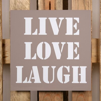 Factory4Home Schild-Set BD-Live Love Laugh, Typographische Kunst in Taupe