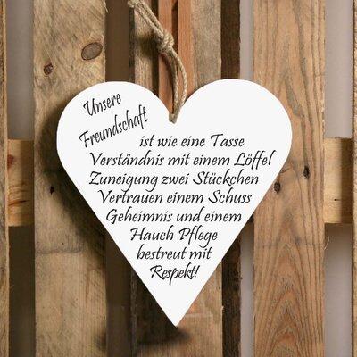 Factory4Home Schild-Set HE-Unsere Freundschaft, Typographische Kunst in Weiß