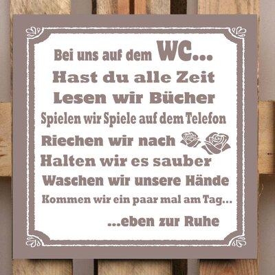 Factory4Home Schild-Set BD-Bei uns auf dem WC, Typographische Kunst in Taupe