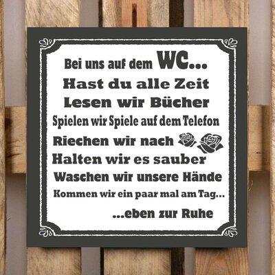 Factory4Home Schild-Set BD-Bei uns auf dem WC, Typographische Kunst in Schwarz