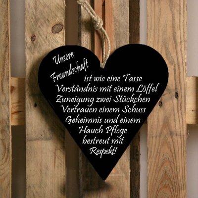 Factory4Home Schild-Set HE-Unsere Freundschaft, Typographische Kunst in Schwarz