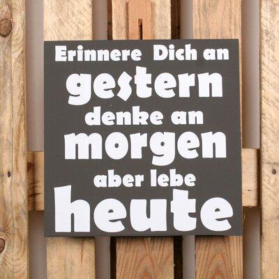 Factory4Home Schild-Set BD-Erinnere dich an Gestern, Typographische Kunst in Schwarz