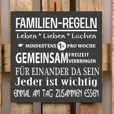Factory4Home Schild-Set BD-Familien-Regeln, Typographische Kunst in Schwarz