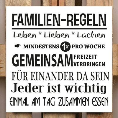 Factory4Home Schild-Set BD-Familien-Regeln, Typographische Kunst in Weiß