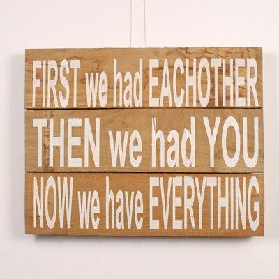 Factory4Home Schild BD-First we had, Typographische Kunst