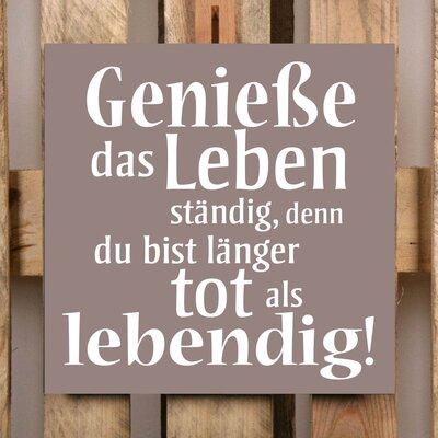 Factory4Home Schild-Set BD-Geniesse das Leben, Typographische Kunst in Taupe