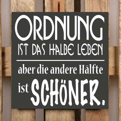 Factory4Home Schild-Set BD-Ordnung ist das halbe Leben, Typographische Kunst in Schwarz